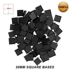100pcs 20mm*20mm Square Model Bases for Wargames Table Games Plastic