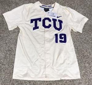 Nike Men's TCU Horned Frogs SS Baseball Jersey Men's Sz.L NEW BQ2867-120