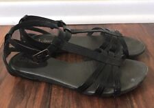 Cole Haan Black Patent Leather Ankle Strap Buckle Open Toe Sandals Heels 8 B