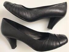 """Clarks Uk5.5 Negro Cuero Tribunal Zapatos Tacones De Bloque De 2.5"""" 2.5"""" de Noche Formal De Oficina"""