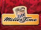 VINTAGE Embossed Miller Lite Beer  MILLER TIME   Tin 3D Sign 1998  10 x 18