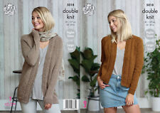 King Cole Ladies Double Knitting Pattern Long or Short Raglan Cardigans 5018