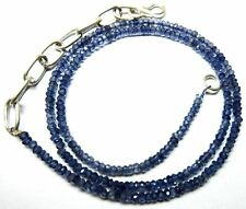 53.70 Ct Natural Iolite Micro Faceted Beads 19.5''Inch Necklace 3.5 To 4MM S114