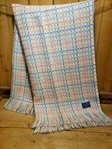"""Vintage 1960s Pendleton Woolen Mills Pastel Woven Shawl Camping Blanket 58 x 70"""""""