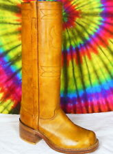 7.5 B vtg 70s ladies leather knee-high campus boots NOS