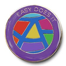 """""""Easy Does It"""" Rainbow Colors Enameled AA/NA  Recovery Program Coin/Medallion"""