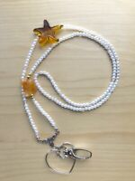 Sea Star Resin Pendant Eyeglasses Lanyard - White Pearl Beads Eyeglass Necklace