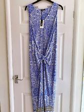 BNWT M&S Twiggy Designer Blue & White Floral Print Jersey Maxi Dress Size 18