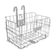 Foldable Bike Basket Bicycle Storage Basket Detachable Front Rear Silver