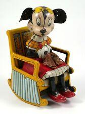 Vintage LINEMAR Tin Litho Walt Disney Minnie Mouse Knitter Windup Toy