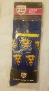POCKET SOCKS WOMEN'S PIZZA PARTY ZIPPERED POCKET  CREW SOCKS SZ M