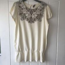 Topshop ladies cream cutwork victorian style short sleeve top size 36 10