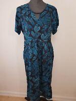 Neues Alice Dot Damen Kleid Gr 42-44 Schwarz/Blaue Blätter Plus Größe NEU/OVP
