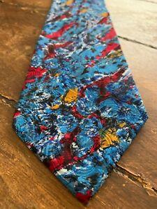 BRIONI~ Silk Neck Tie~ Blue, Red, Gold Watercolor ~  EUC