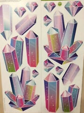 RAINBOW CRYSTALS wall stickers 18 colorful decals healing stones