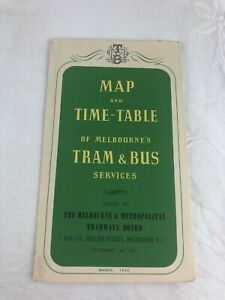 TRANSPORTATION - MAP & TIME-TABLE OF MELBOURNE'S TRAM & BUS SERVICES 1952