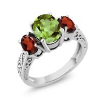 2.45 Ct Oval Green Peridot & Red Garnet 925 Sterling Silver 3-Stone Women's Ring