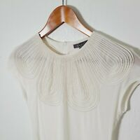 Gracia White Blouse Womens Small Sheer Mesh White Piping Edwardian Style Flaw