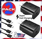 2 PACK 25w Type USB-C Super Fast Wall Adapter Charger+6FT Cable For Samsung S21