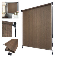 Roller Shade Blind Roll up w/ crank For Deck Porch Balcony Patio Light Filter