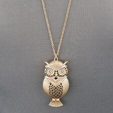 Long Simple Gold Chain Owl Design Pendant Statement Necklace