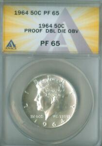 1964 KENNEDY HALF DOLLAR ANACS PF65 Double Die Obverse FREE S/H (2127092)