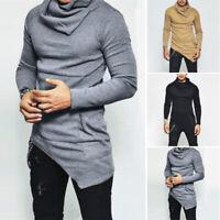 Mens Casual Turtleneck Long Sleeve Tops Irregular Pullover Warm Jumper Sweater