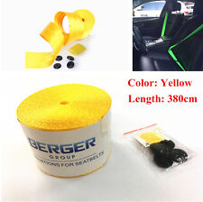 380cm Yellow Harness Racing Front 3 Point Safety Retractable Auto Car Seat Belt