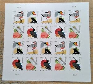 Coastal Birds 20 USPS Forever postcard stamps 2015 Red Knot King Eider Spoonbill