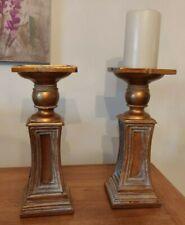 Pair Of Gilt Wooden Candlesticks / Stands