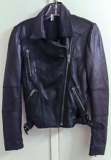 Topshop Black 100% Real Leather Motorcycle Biker Jacket Women's Size 4 EUR 36