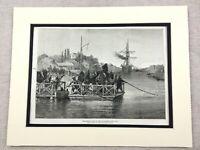 1875 Antico Stampa El Kantara Algeria Suez Canal Vela Nave Cammelli