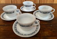 Set of 4 Cups Saucers Corelle Pyrex Old Town Blue Onion Corning Dinnerware