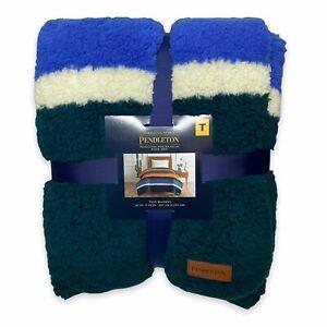 Pendleton Sherpa Soft Fleece Blanket Evergreen Striped Cozy NEW Twin/Throw Size