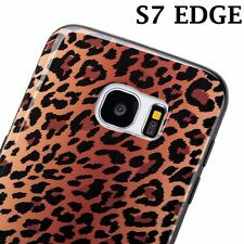 for Samsung Galaxy S7 Edge - BROWN LEOPARD CHEETAH PRINTS Hard Rubber Case Cover