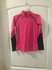 Euc sz M 10 Girls Reebok Fleece Lined Under Athletic Top Pink Black