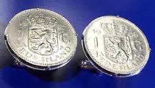Vintage Netherlands Crowed Lion & Sword Large Dutch Coin Cufflinks + Gift Box!