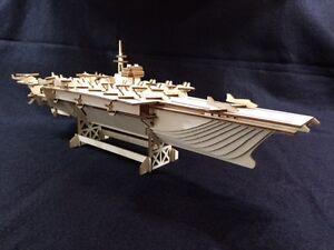 Laser Cut Wooden Aircraft Carrier 3D Model/Puzzle Kit