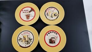 "Set of 4 Yellow Pottery Barn Beer Dishes Plates 8"" Lager Ale Porter Hefeweizen"