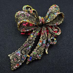 New Betsey Johnson Fashion Enamel Crystal Bowknot Charm Woman Brooch Pin