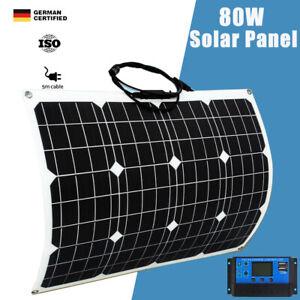 12V 80W Flexible Solar Panel Mono 20A Regulator Caravan Camping Battery Charger