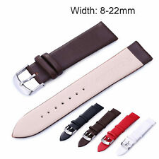 8-22mm Slim Genuine Leather Band Water-proof Watch Strap Wristband Metal Buckle