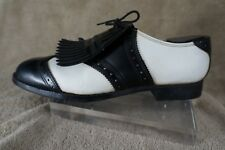 Vintage Golf Victoria Shoes Wingtip Style-craft Saddle Black White Japan 9 1/2 D