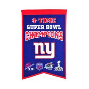 """NEW YORK GIANTS 4 TIME SUPER BOWL CHAMPIONS EMBROIDERED WOOL BANNER 14""""X22"""""""