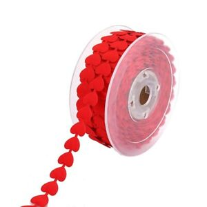 1M Red White Embossed Love Heart Ribbon Wedding Decorations Packing Lace Ribbons