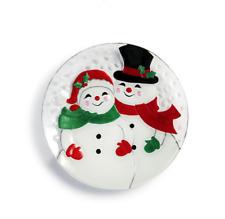 "Demdaco - Glass Fusion - 11"" Round Platter - Snow Couple"