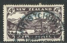 New Zealand 1931 Plane/Lake 4p dark violet Airmail--Attractive Topical (C2) used