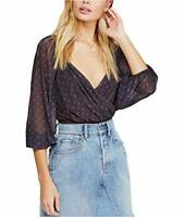 Free People Women's Plunging Neckline Printed Surplice Blouson Top (Black, L)