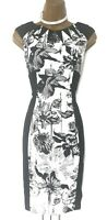 KAREN MILLEN 8 UK Black White Floral Wiggle Pencil Dress Cocktail Party Races