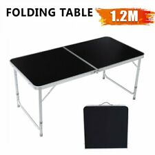 4FT Folding Table Aluminium Alloy Indoor Outdoor Picnic Party Camping Black
